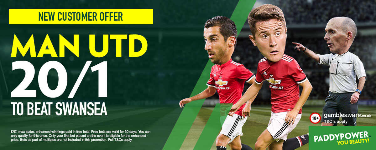 Swansea v Man United: 20/1 enhanced odds, kick-off time