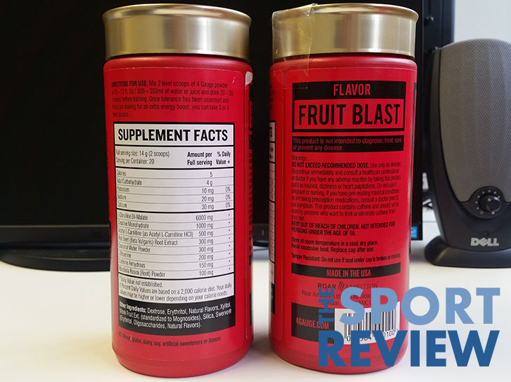 4 Gauge pre workout supplement facts