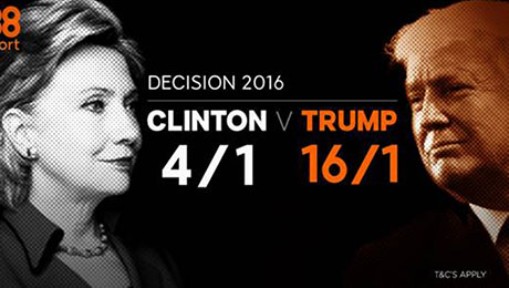 USA election 2016 betting: 16/1 enhanced odds on Donald Trump, 4/1 enhanced odds on Hillary Clinton