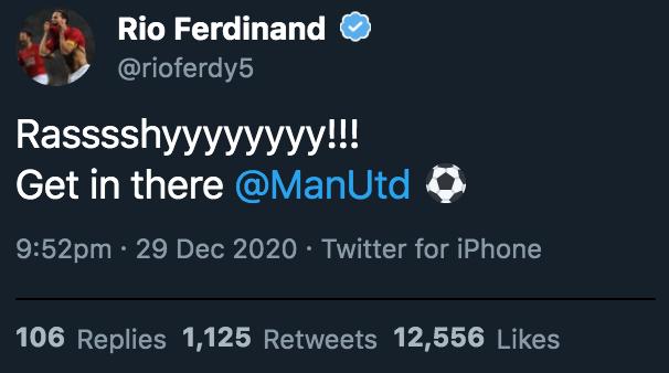 Rio Ferdinand Marcus Rashford goal