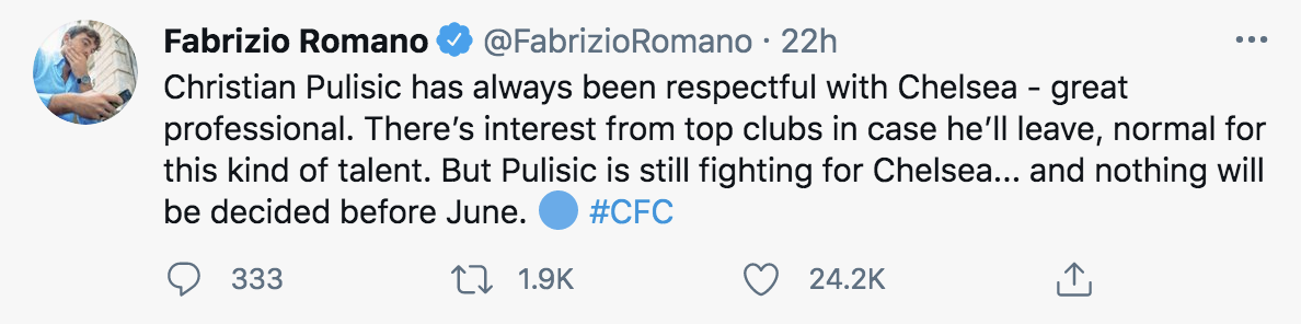 Fabrizio Romano Christian Pulisic update