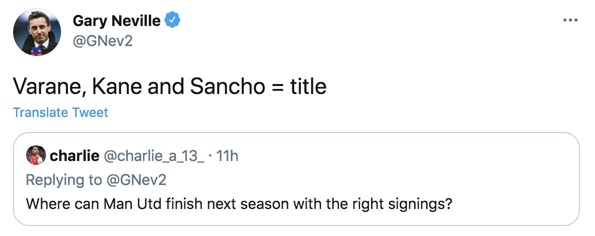 Gary Neville transfer tweet