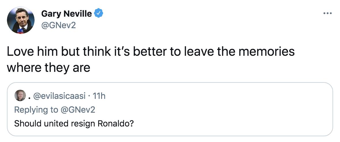 Neville Ronaldo tweet