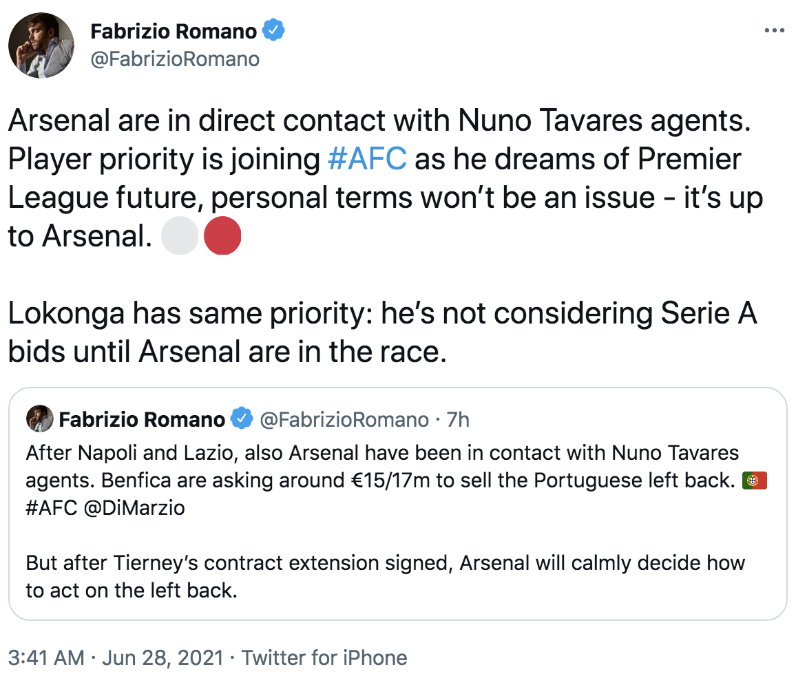 Fabrizio Romano Nuno Tavares update