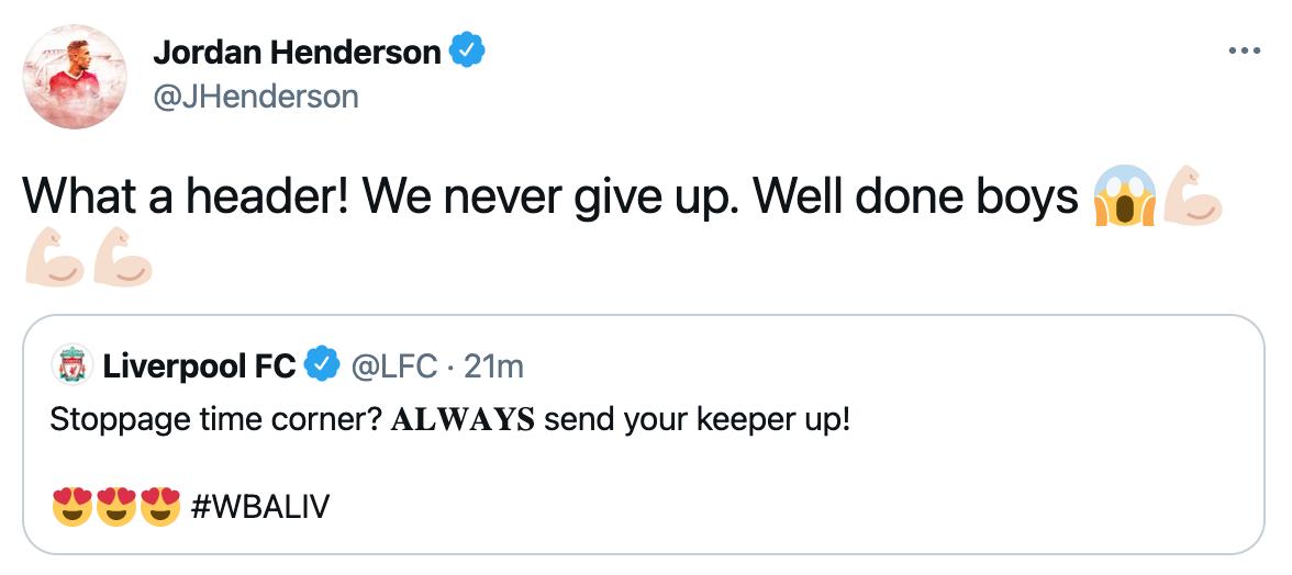 Henderson Twitter Alisson
