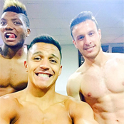 Sanchez posts topless selfie with Chile pals