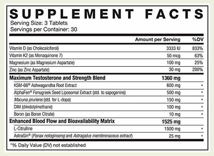 Alpha King Supreme ingredients