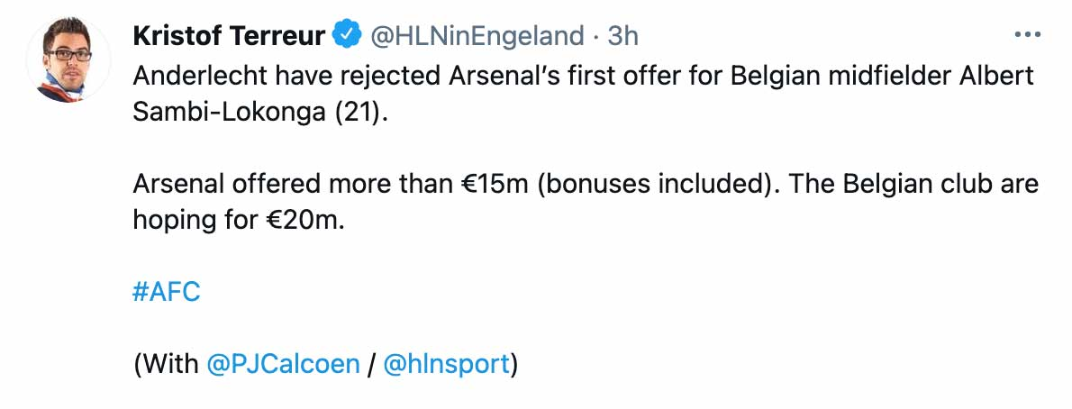Arsenal transfer tweet