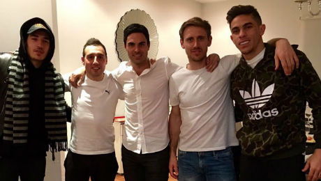 Photo: Santi Cazorla all smiles with Arsenal trio and title rival
