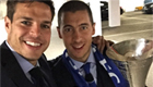 Chelsea stars poses with trophy-laden Hazard