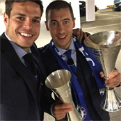 Chelsea star poses with trophy-laden Hazard