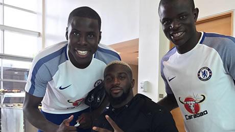 Photo: New Chelsea signing poses with Kante, Zouma at Cobham