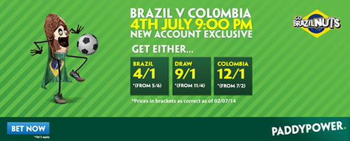 brazil v colombia betting odds