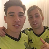 Bellerin all smiles with Everton's Deulofeu