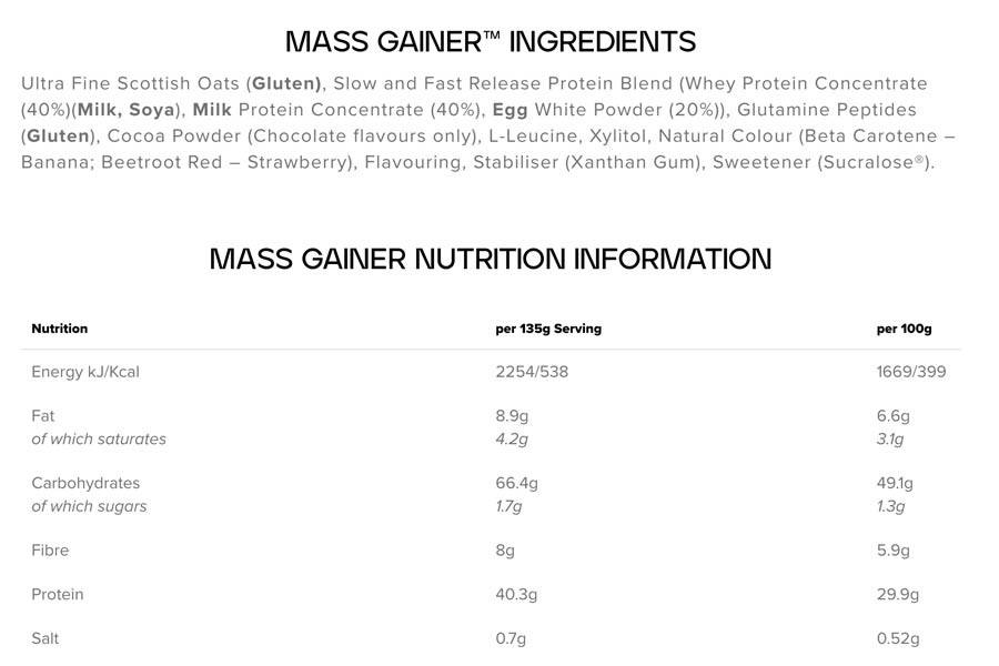 The Bulk Mass Gainer ingredients formula, as shown on Bulk.com at the time of writing
