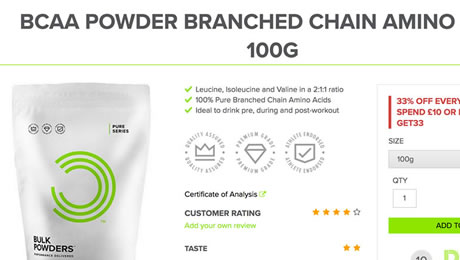 Bulk Powders Instant BCAA powder review