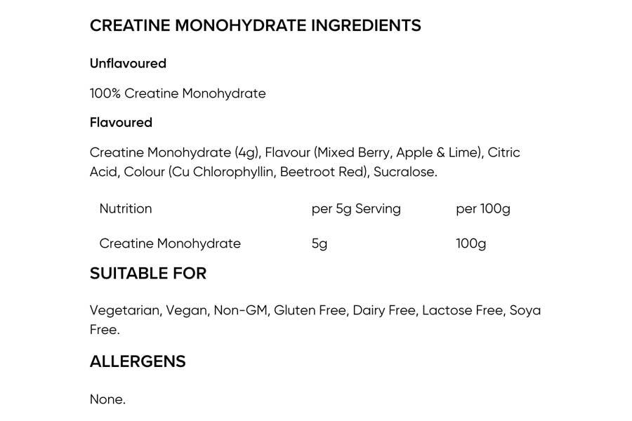 The Bulk Powders Creatine Monohydrate ingredients label