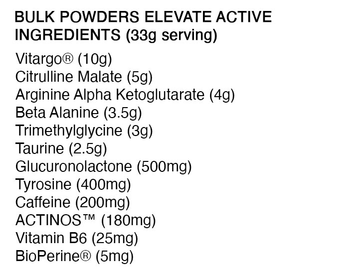 The Bulk Powders Elevate Ingredients formula