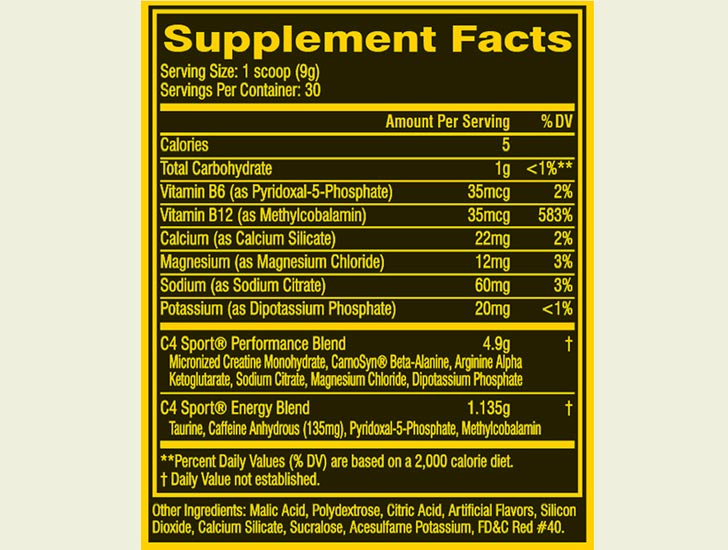 The C4 Sport ingredients formula (US version)