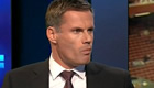 Jamie Carragher reacts to Liverpool's 1-0 victory over Stoke City