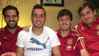 Fabregas poses with Arsenal midfielder