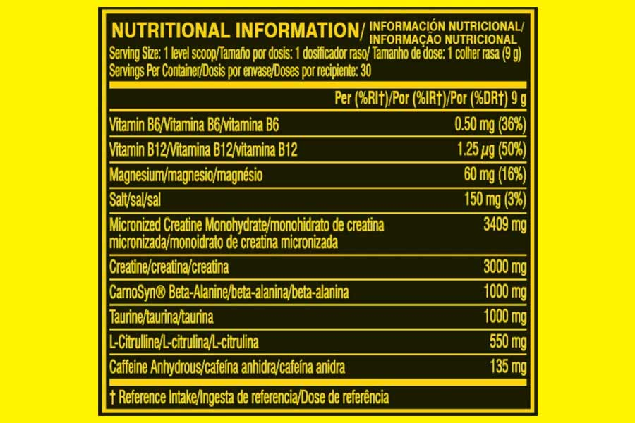 The Cellucor C4 Sport Pre Workout ingredients formula, as shown on Amazon.co.uk at the time of writing