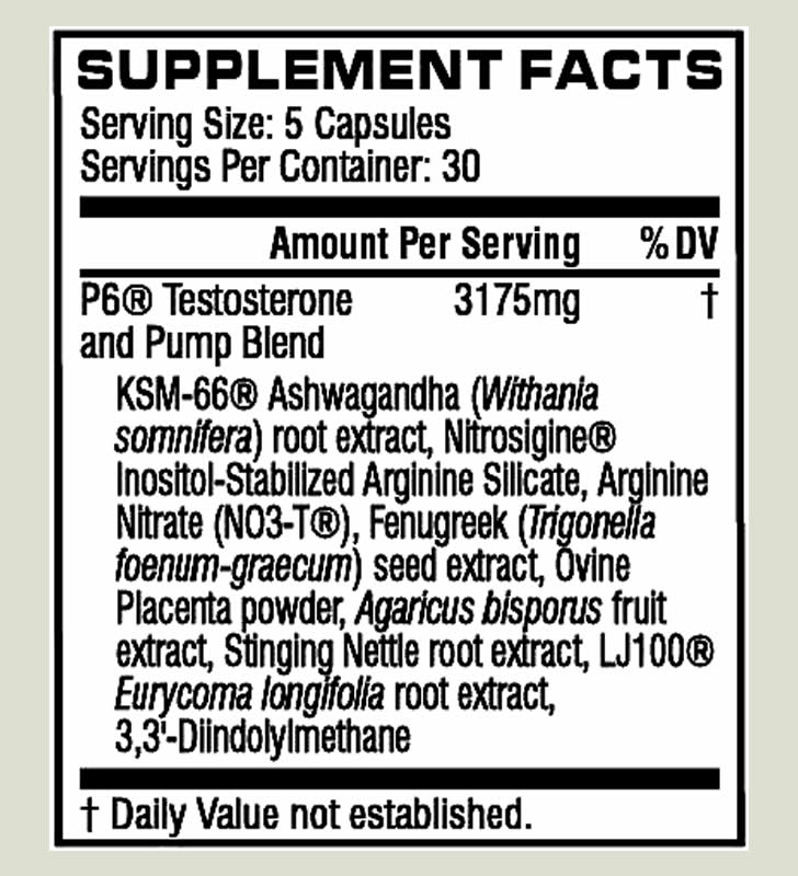 Cellucor P6 Extreme Pump ingredients