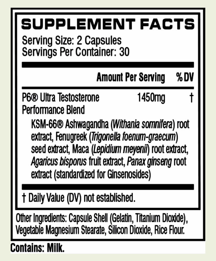 Cellucor P6 Ultra ingredients