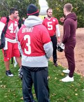 Photo: Arsenal defender Calum Chambers meets Atlanta Falcons
