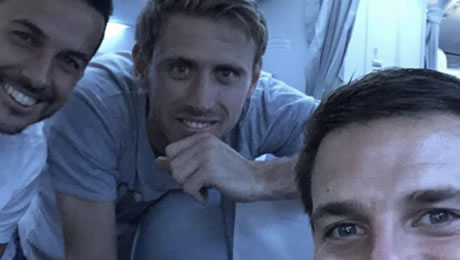 Photo: Pedro joins Arsenal and Chelsea stars on flight back to London