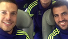 Photo: Cesc Fàbregas and Diego Costa all smiles as Chelsea jet off to Lisbon