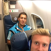 Photo: Chelsea duo pose on plane ahead of Man Utd trip