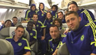Photo: Cesc Fàbregas squeezes 14 Chelsea players into plane picture