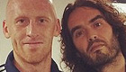 Photo: West Ham defender poses with Russell Brand after Liverpool win