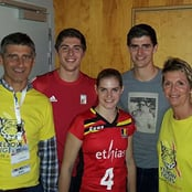 Courtois poses for family photo
