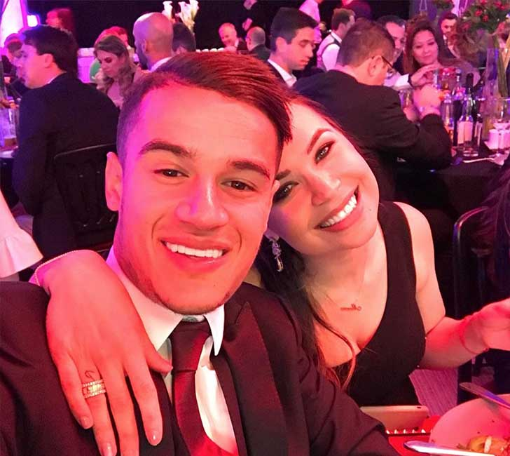 Philippe Coutinho and his wife Aine