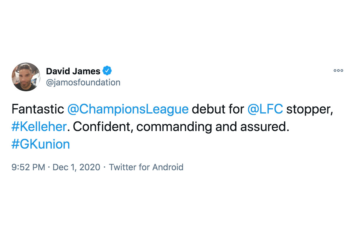 Former Liverpool FC goalkeeper David James gives his verdict on Caoimhin Kelleher (Photo: David James / Twitter)