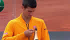 Watch Novak Djokovic fire champagne cork into his face after Rome final