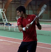 Photo: Novak Djokovic practices for the first time as a father