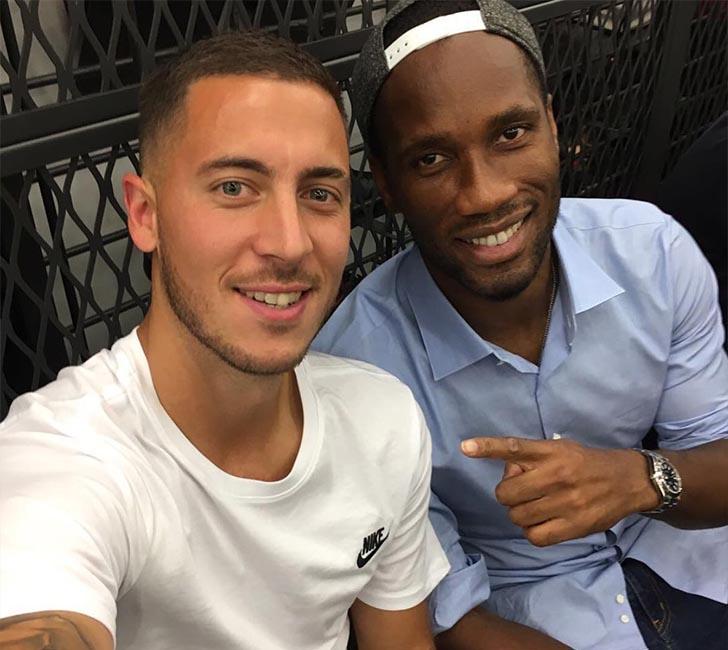 Eden Hazard and Chelsea FC legend Didier Drogba