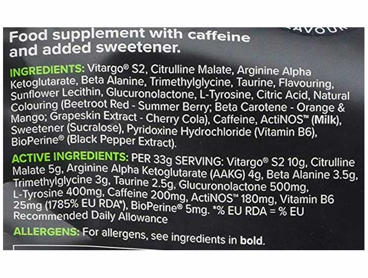 The Elevate Bulk Powders ingredients formula, shown on Amazon.com at the time of writing