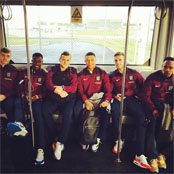 Photo: Wilshere snaps Arsenal and Liverpool stars heading to Glasgow