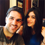 Fabregas enjoys dinner with his step daughter