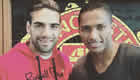 Photo: Man Utd's Radamel Falcao all smiles with Antonio Valencia