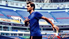 Photo: Roger Federer warms up for Shanghai Masters
