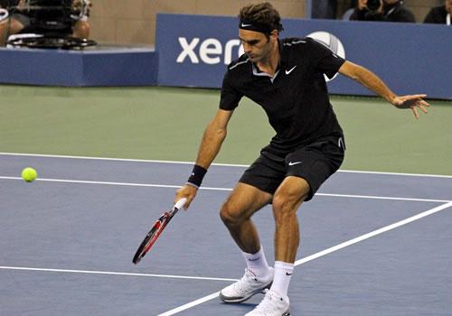 b1a17c82dcfa3 US Open 2014  Michael Jordan watches on as Roger Federer cruises