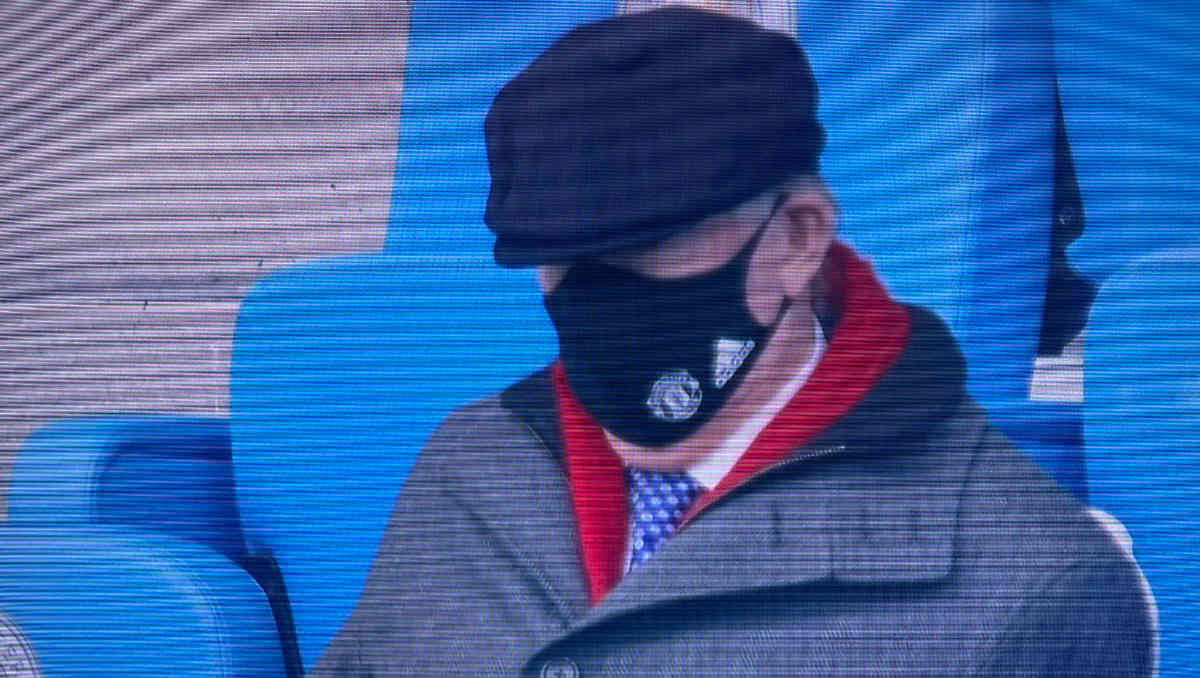 Sir Alex Ferguson in the stands at The Etihad as Man United beat Man City (Photo: Sky Sports/ Screen grab)