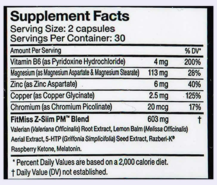 FitMiss Z-Slim PM ingredients