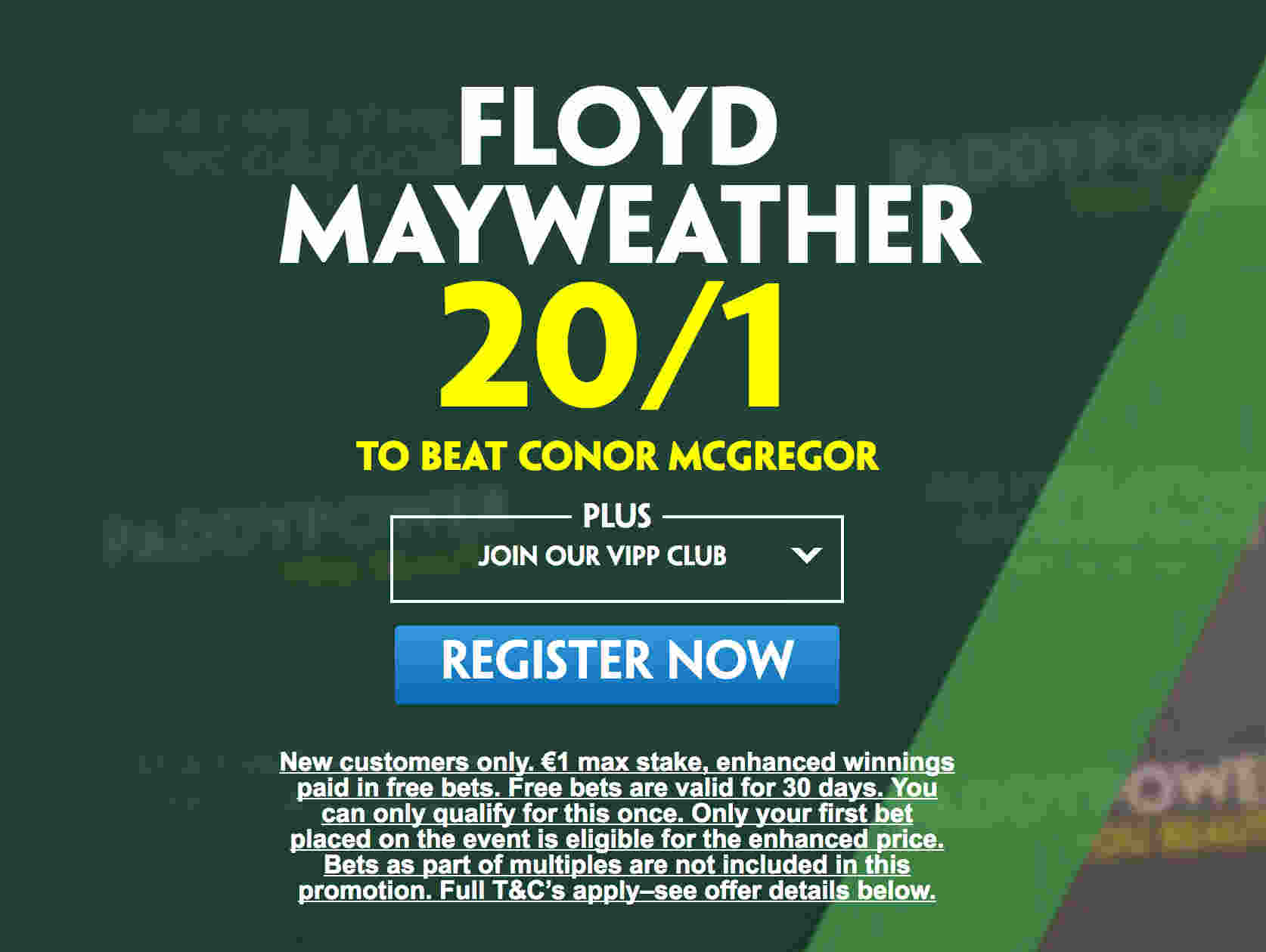 McGregor v Mayweather: 20/1 enhanced odds on Mayweather to