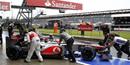 British Grand Prix 2012: Hamilton fastest in rain-drenched practice